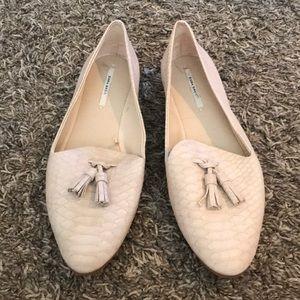 Zara basic snakeskin tassel flats loafers